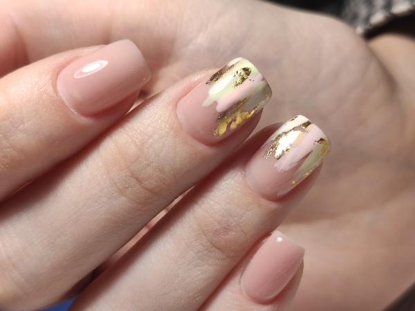 sexy pink manicure on long beautiful