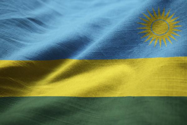 closeup of ruffled rwanda flag rwanda