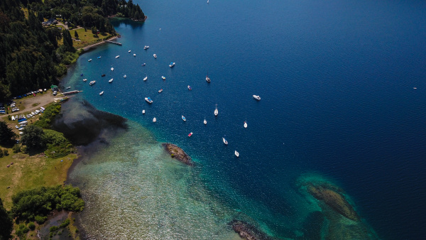 aerial view of boats on lake