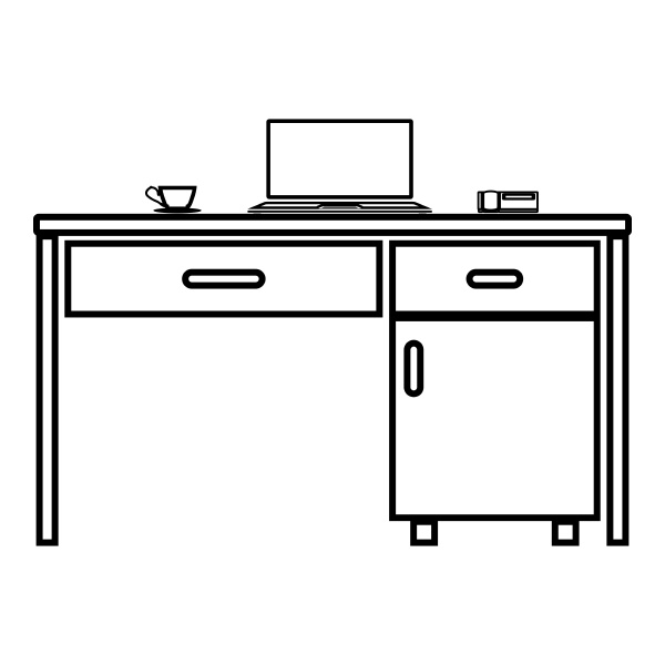 desktop with laptop phone and tea