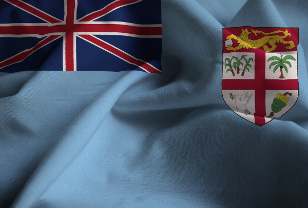 closeup of ruffled fiji flag