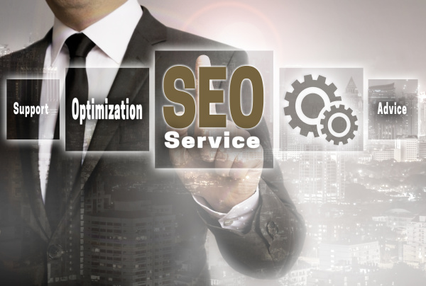 seo service businessman with city background