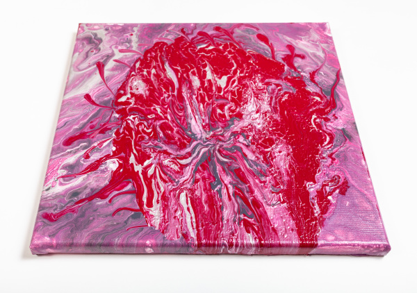 painting with red blob and pink