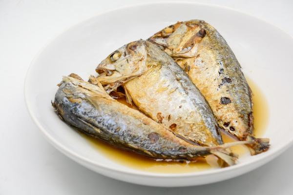 fried mackerel on white plate deep