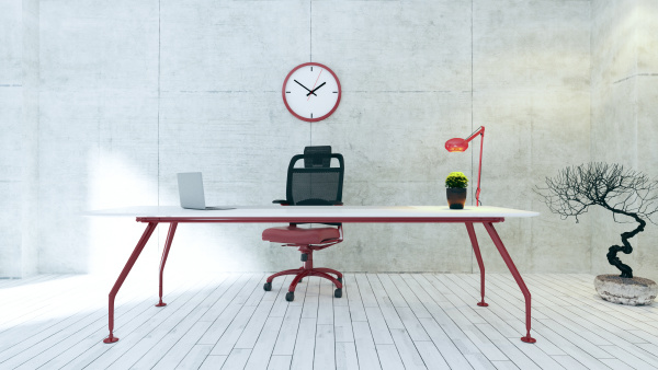 workspace red table with concrete wall