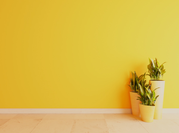 yellow wall with white ceramic floor
