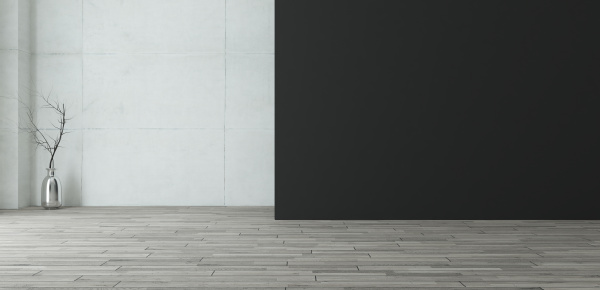 empty room with black painted wall