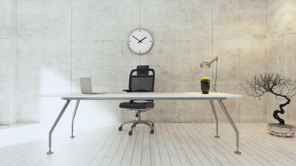workspace white table with concrete wall