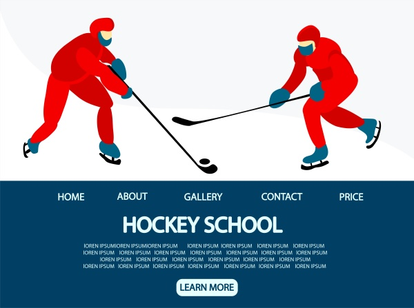 ice hockey landing page for the