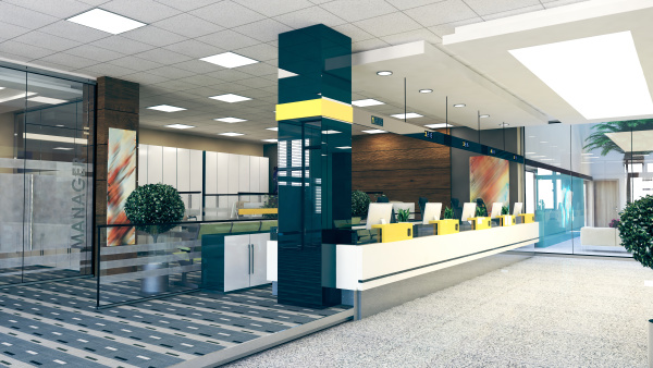open space office perspective realistic 3d