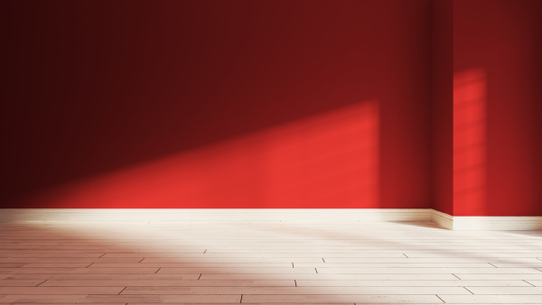 red wall and sunlight from