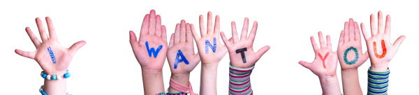 children hands building word i want