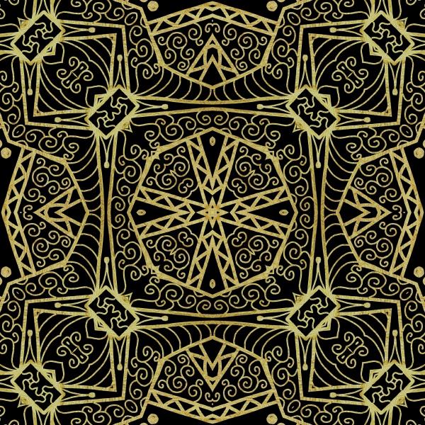 seamless golden line art pattern