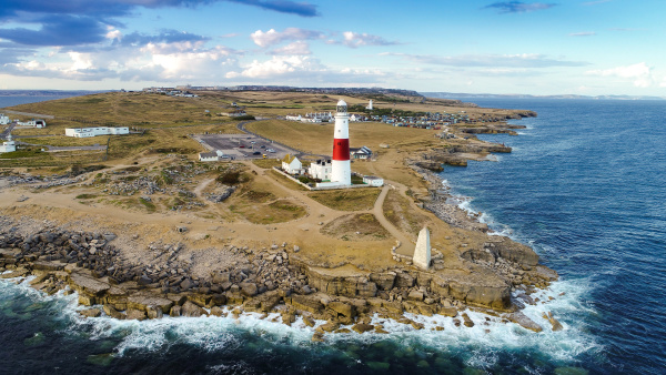 aerial view of portland bill lighthouse