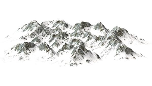 snowy mountains on white background