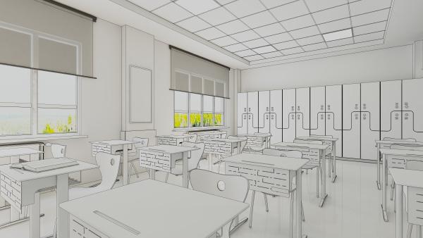 modern classroom design draw 3d rendering