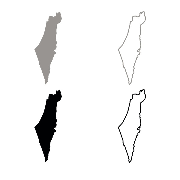 map of israel icon outline set