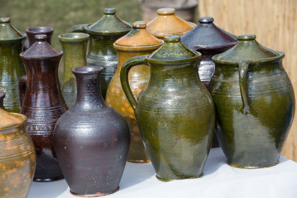 handmade ceramic pottery in a