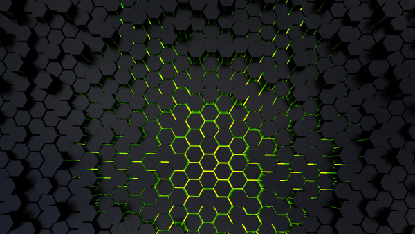 abstract futuristic and game hexagonal black