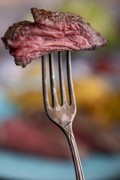 slice of steak on a fork