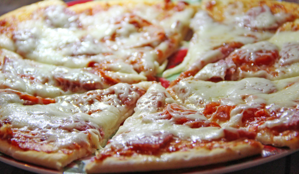 slices of fresh appetizing pizza with