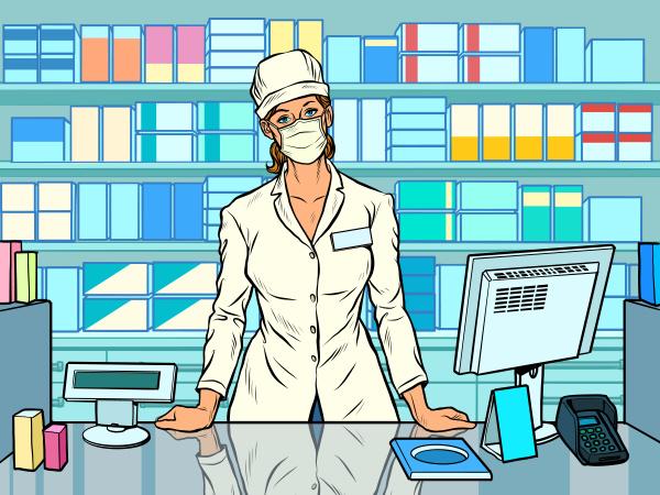female pharmacist during an outbreak of