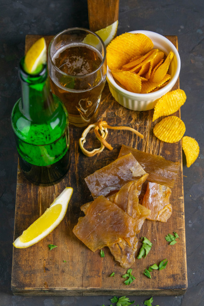 dried catfish fillet with beer lemon