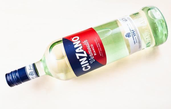 lying bottle of cinzano bianco on