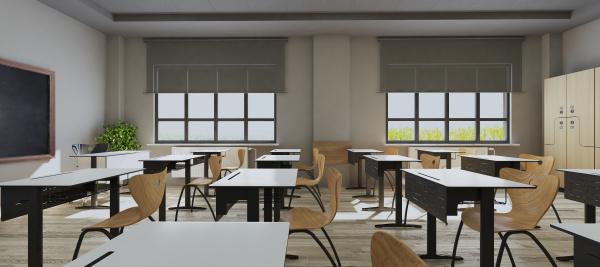 modern classroom design with modern desk