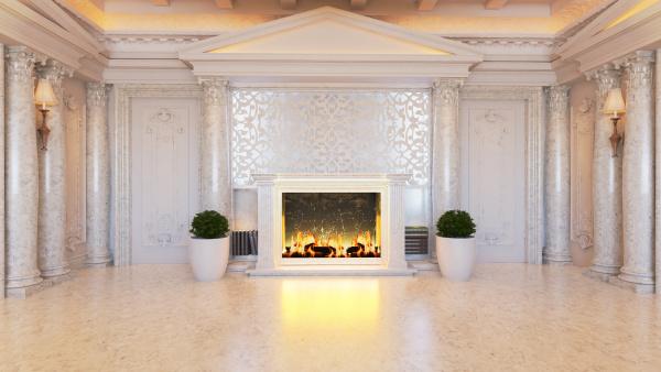 white baroque and classic interior design