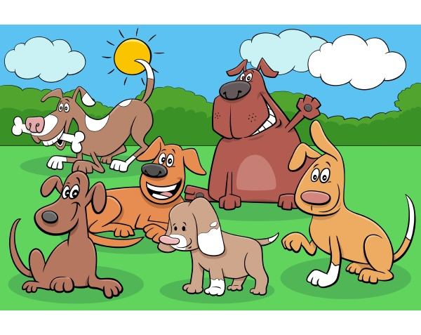 happy dogs and puppies cartoon characters