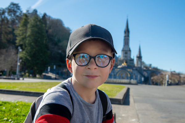 young boy with the cathedral sanctuary