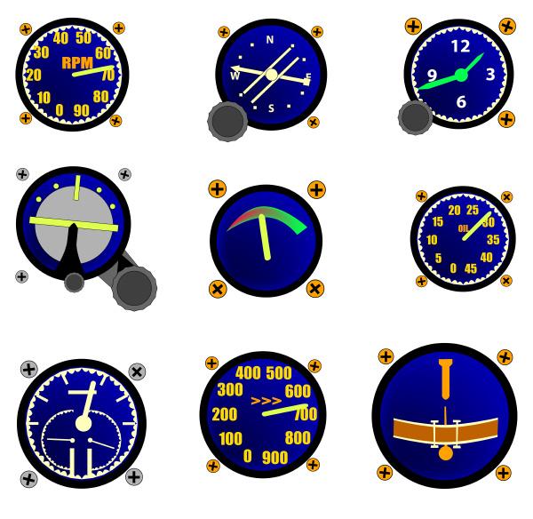 various aircraft gauges