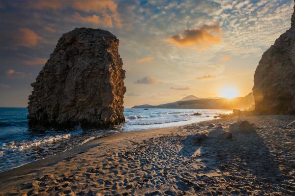 fyriplaka beach on sunset milos island