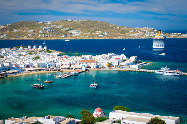 mykonos island port with boats cyclades