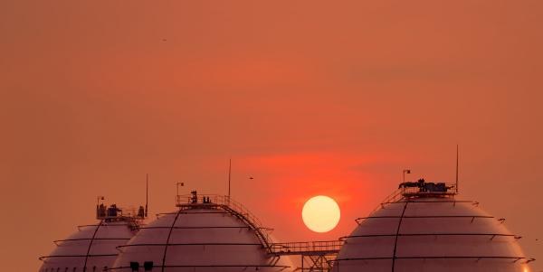 industrial gas storage tank on orange