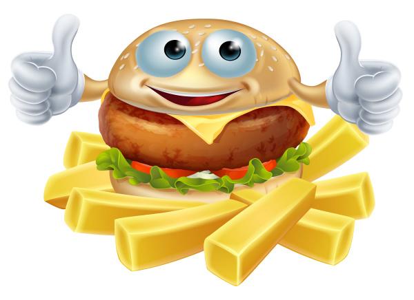 cartoon hamburger and fries