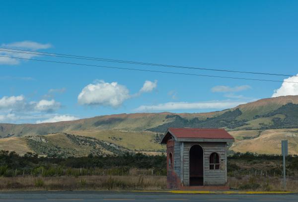 small bus stop at puerto natales