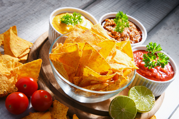 composition with bowl of tortilla chips