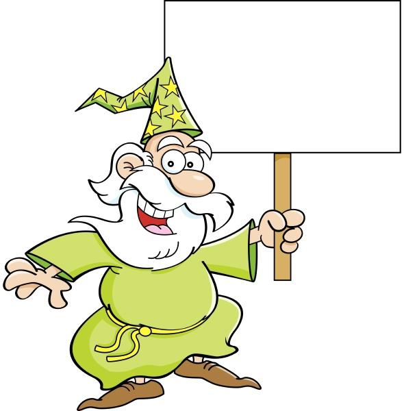 cartoon illustration of a wizard holding