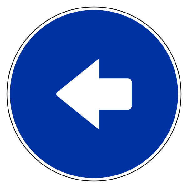 left arrow and blue sign