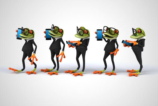 3d illustration of cartoon frogs phoning