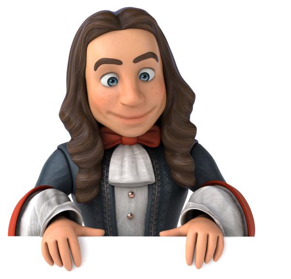 cartoon man in historical baroque costume
