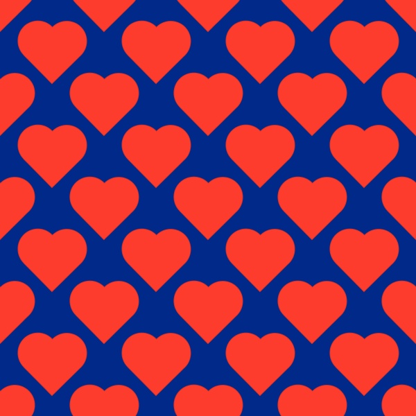 red hearts on the navy blue