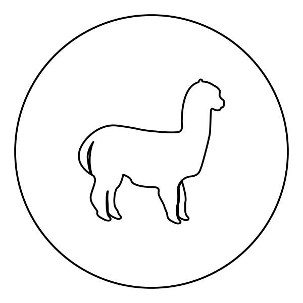 alpaca black icon outline in