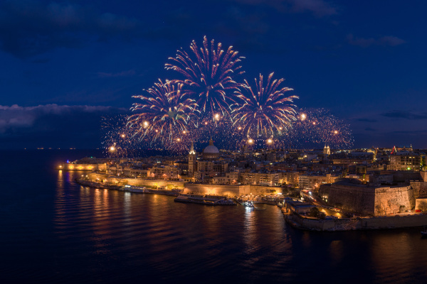 aerial view of fireworks over valletta