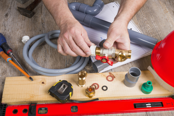 clopse up of plumbing with different