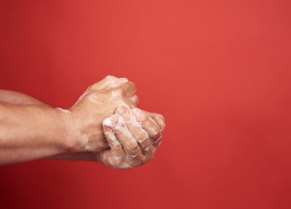 two male hands in a white