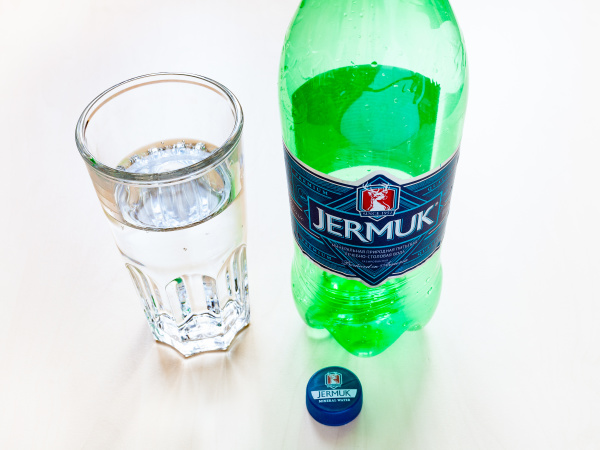 empty bottle of jermuk mineral water