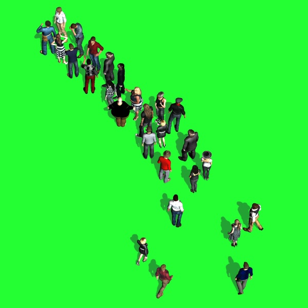 people standing in the row